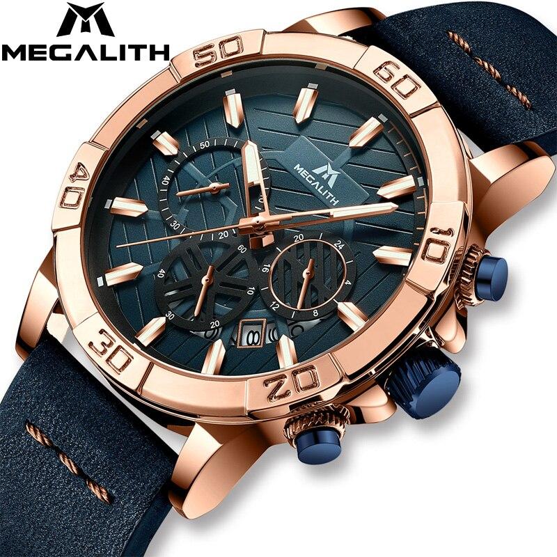 Montre Homme 2019 MEGALITH Watches Mens Sport Chronograph Waterproof Watch Men Top Brand Luxury Luminous Leather Wristwatch Men