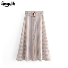 2019 Fashion New Spring Autumn skirt vintage england style pink sashes high waist striped linen long skirts womens