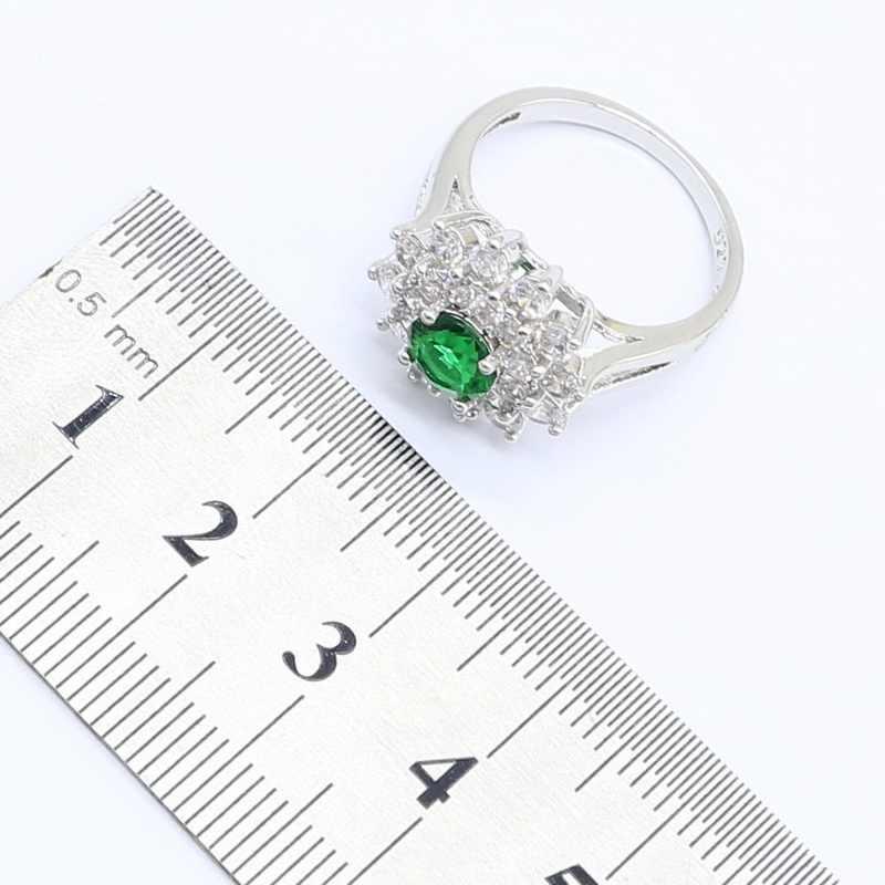 925 כסף תכשיטי סטים לנשים פרח ירוק לבן אבנים שרשרת תליון Stud עגילי טבעות אריזת מתנה