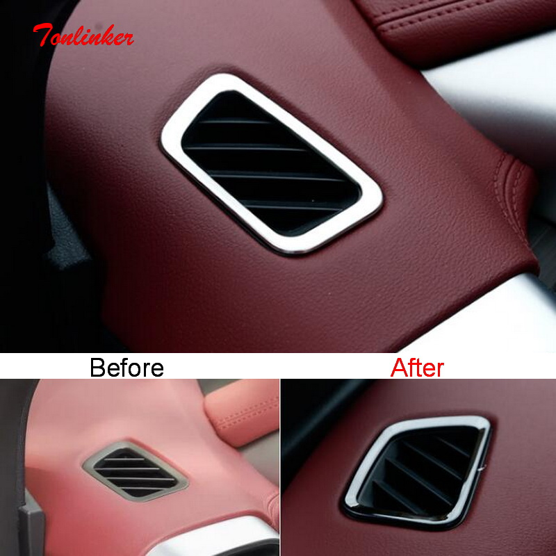 Tonlinker Interior Car Small Outlet Cover Sticker For Geely SX11 Coolray 2018-20 Car Styling 2 Pcs Stainless Steel Cover Sticker
