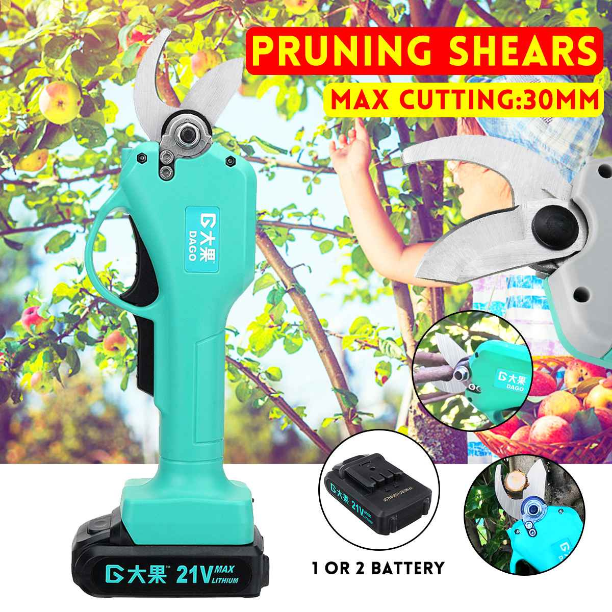 30mm Rechargeable Electric Pruning Scissors Cordless Pruning Shears Garden Pruner Secateur Branch Cutting Tool With 1/ 2 Battery