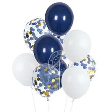 12 Uds. De 12 pulgadas de Globos blancos y azules, confeti de oro azul para decoración de boda, Globos azules oscuros, decoraciones para fiesta de cumpleaños, Globos para niños