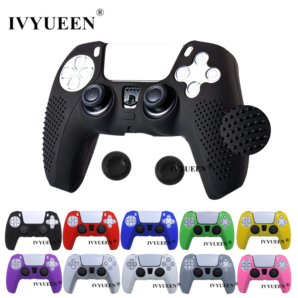 IVYUEEN Anti-slip Silicone Cover Skin for Sony PlayStation Dualshock 5 PS5 Controller Case Thumb Stick Grip Cap for DualSense