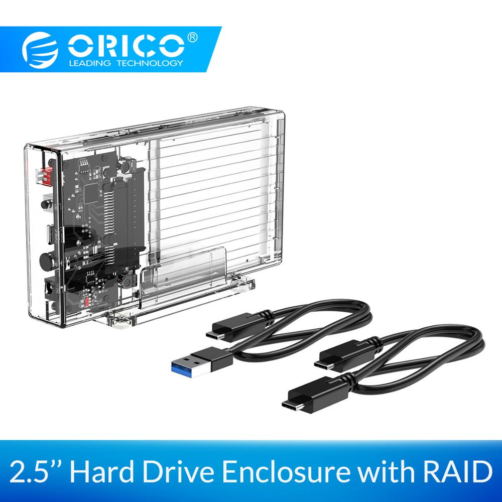 ORICO 2.5 Inch Hard Drive Enclosure With RAID Transparent 5Gbps External SSD Box SATA3.0 HDD Case Support For Windows/Mac/Linux