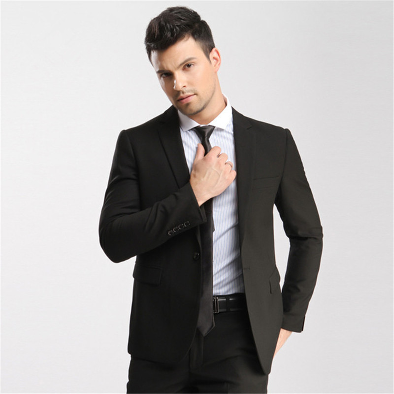 Tailored Black Mens Formal Wedding Suits For Bridegroom Casual One Button Spring Party Suits Groomsmen Wear (Jacket+Pant)