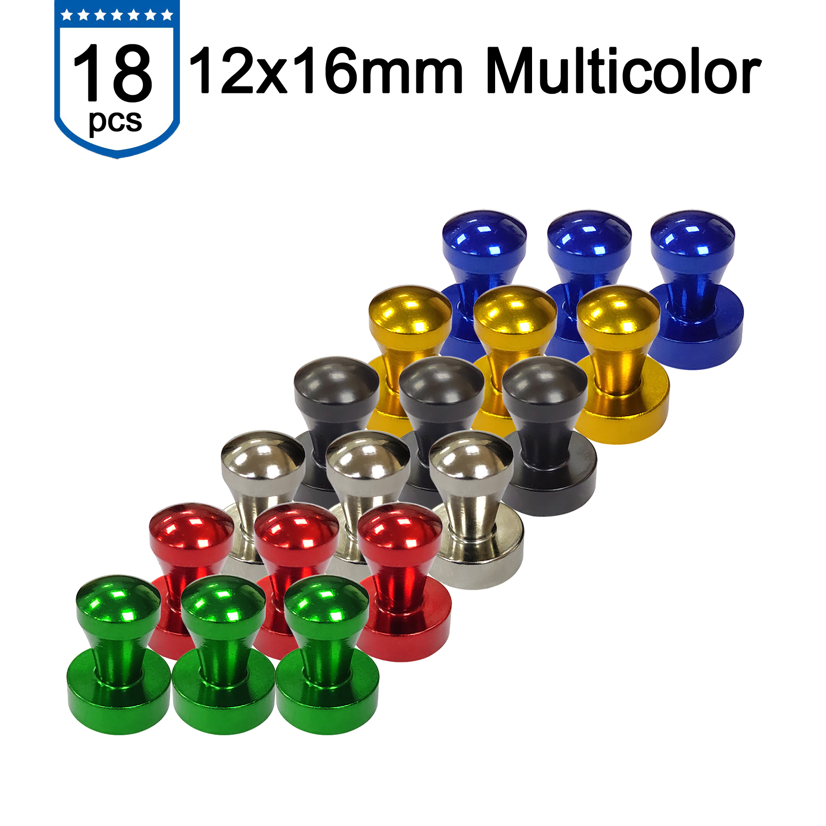 F EdsionR&D Magnet Push Pins D12x16 - Colorful Practical Long Lasting Metal No Rust Strong Magnets Use For Fridge Map Whiteboard