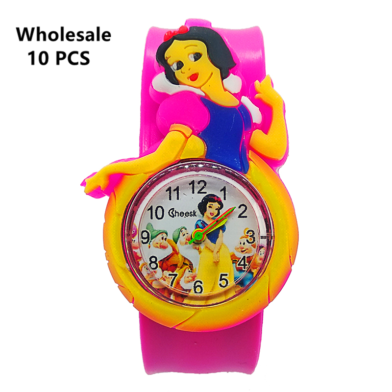 (Wholesale 10 Pcs) 3D Princess Silicone Band Bracelet Children Watch Wristband Toy Clock For Girls Boys Baby Gifts Kids Watches