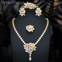 ModemAngel NEW Luxury Flower 4pcs African Cubic Zircon CZ Nigerian Jewelry sets For Women Wedding Dubai Gold Bridal Jewelry Sets