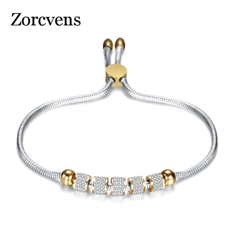 ZORCVENS Luxury Crystal Charm Stainless Steel Bracelets&Bangles Gold Bracelets For Women Jewellery Pulseira Feminina Bracelet