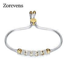 Zorcvens pulseira & pingentes de cristal, pulseiras e braceletes de aço inoxidável dourados para mulheres, joias, bracelete feminino
