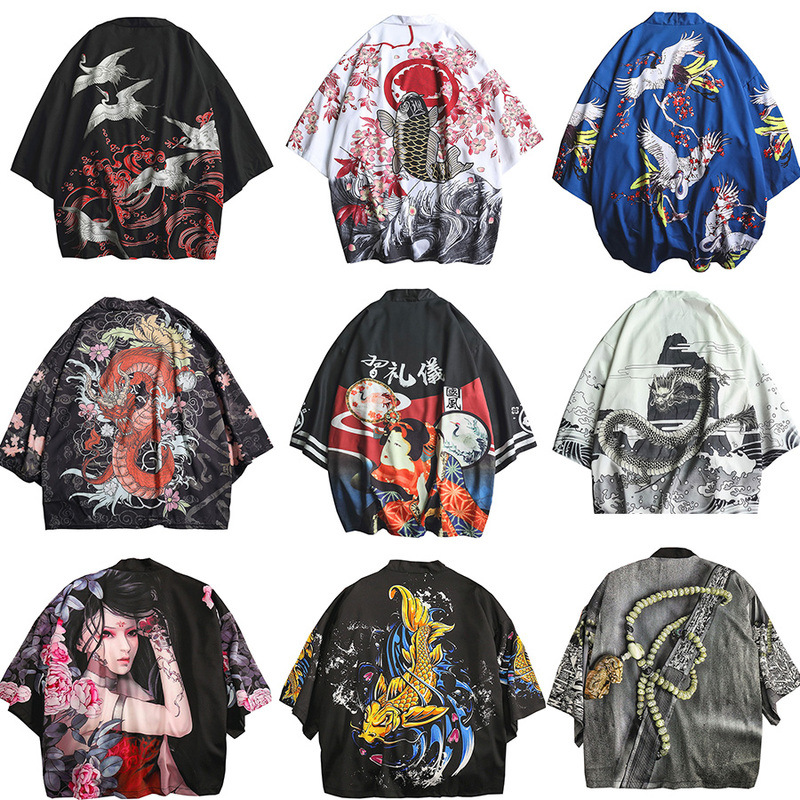 Men Women Chinese Dragon Cardigan Samurai Crane Yukata Japanese Style Kimono Loose Blouse Haori Traditional Coats Asian Clothes
