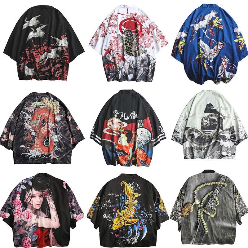 Men Women Chinese Dragon Cardigan Samurai Crane Yukata Japanese Style Kimono Loose Blouse Haori Traditional Coats Asian Clothes