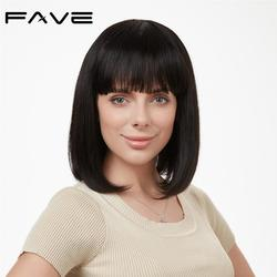 FAVE Short Bob Wig Human Hair Straight Wigs 12 with Bangs For Black/White Women Remy Machine Made Shoulder Wig Free Shipping