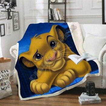 Anime Rey León Simba 3D manta de lana arte de dibujos animados impresión niños cama caliente manta de recién nacido gallina suave manta estilo 012