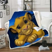 Kids Anime Lion King Simba 3D Blanket Fleece Cartoon Art Print Children Warm Bed Throw Blanket newborn bayby Blanket style 012
