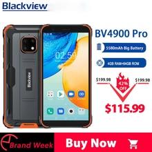 Blackview bv4900 pro ip68 áspero telefone 4gb 64gb octa núcleo android 10 impermeável celular 5580mah nfc 5.7 polegada 4g celular