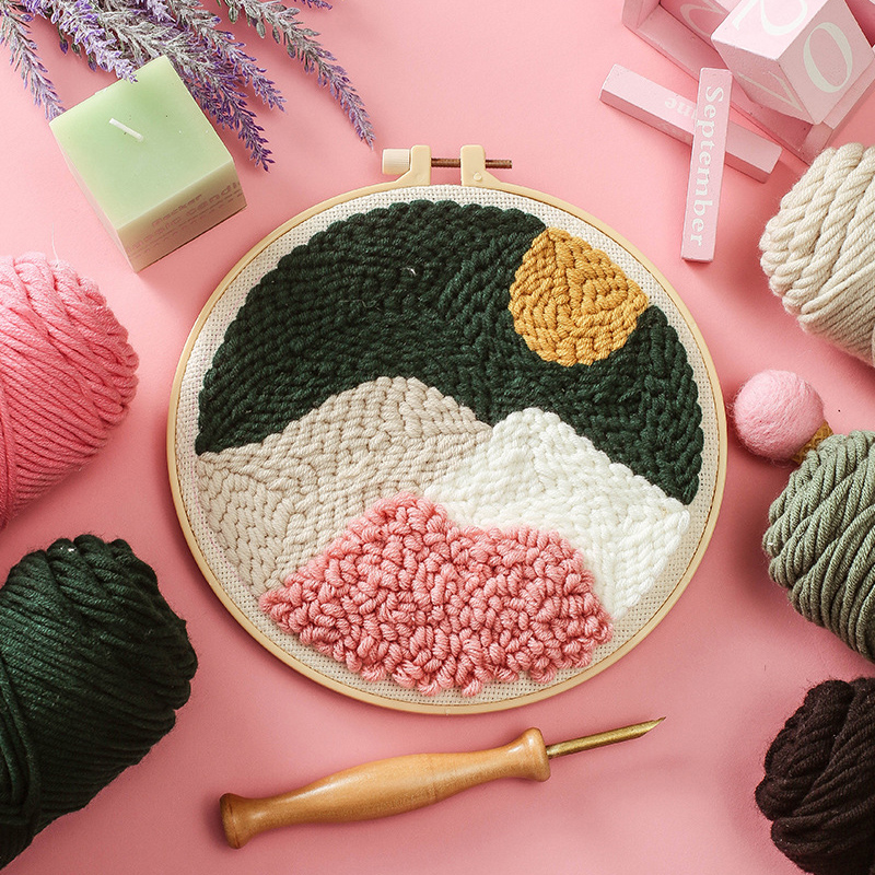 Landscape Easy DIY Punch Needle Embroidery Kit with Hoop Cross Stitch Set for Beginner Handmade Sewing Art Craft Home Decor