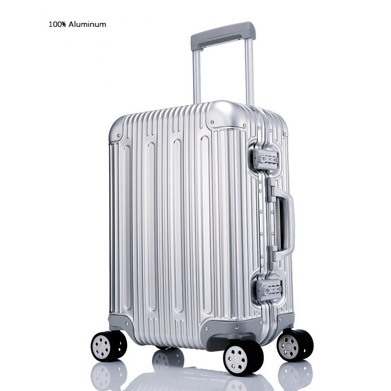 Luxury 100% High Quality Aluminum-magnesium Alloy 20/24/26/29 Inch Size  Rolling Luggage Spinner Brand Travel Suitcase