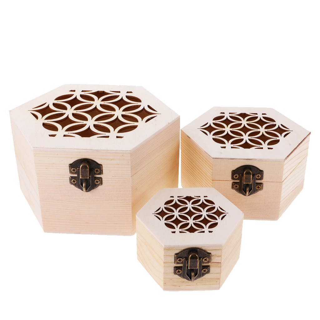 Hexagon Plain Wooden Jewellery Case Storage Box DIY Craft Kids Adult Memorial Keepsake 3-piece