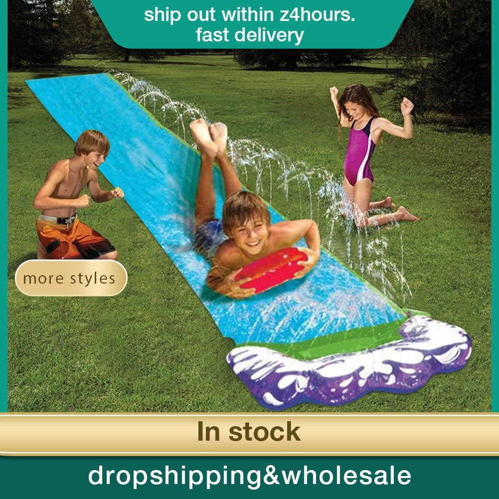 Big 4.8m Surf 'N Double Water Slide Lawn Water Slides For Children Summer Pool Kids Games Fun Toys Backyard Outdoor Wave Rider