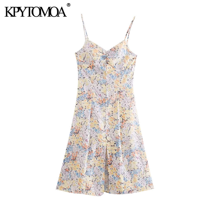 KPYTOMOA Women 2020 Chic Fashion Floral Print Front Slit Midi Dress Vintage Backless Thin Straps Female Dresses Vestidos Mujer