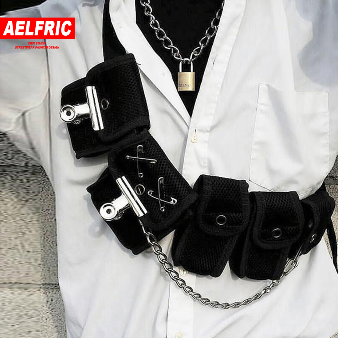 AELFRIC Fashion Streetwear Waist Chest Bag Men Women Mesh Tactical Package 5 Pockets Hip Hop Waist Packs Waist Packs Belt Bag