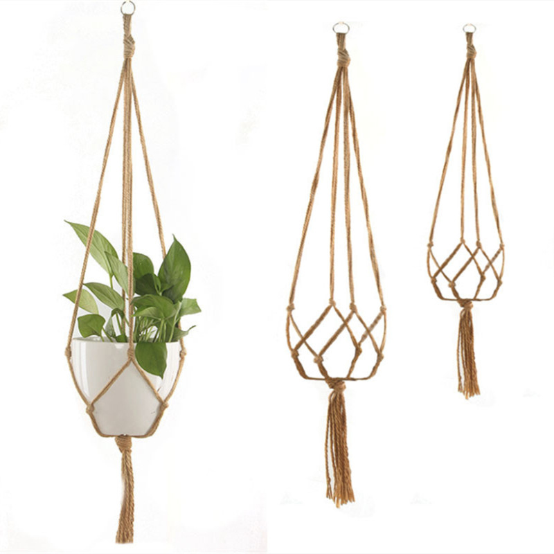 Handmade Macrame Flower Pot Hanging Basket Knotted Rope Flowerpot Net Bag Horticultural Home Door Balcony Courtyard Garden Decor
