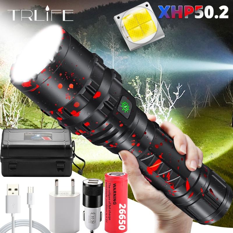 ส่วนใหญ่ที่มีประสิทธิภาพ XLamp XHP50.2 ไฟฉาย LED ล่าสัตว์ L2 กันน้ำ 5 โหมดสวิทช์ไฟฉาย Lanterna 18650 26650 แบตเตอรี่