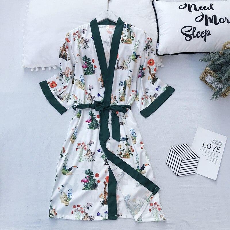 FZSLCYIYI Robe Silk Sleepwear Satin Bathrobe Kimono Home Dress Flower Robe Vintage Sexy Sleep Lounge Elegant Night Wear Women