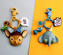 2020 Circus animal key buckle hat small elephant creative cute cartoon pendant satchel small pendant resin merchandise(China)