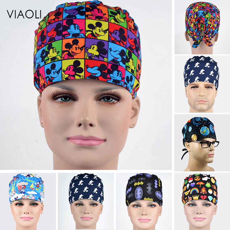 Wholesale Animals Prints Cute Scrub Caps High Quality Gourd Hat Clinic Hospital Dental Surgical Laboratory Pharmacy Medical Caps