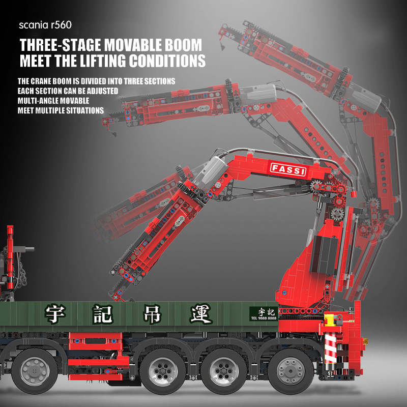 Yeshin YC-GC008 APP High-Tech Car Model The Big Scania Crane Lorry Truck Building Blocks
