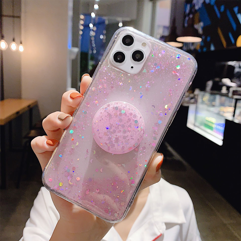H6421d11cbd9d43119071203ff2436afcb - Bling Glitter Phone Case For iphone 11 Case 11 pro max 6 6s 7 8 Plus X XR XS Max Star Sequin Cover Funda Stand Holder Coque