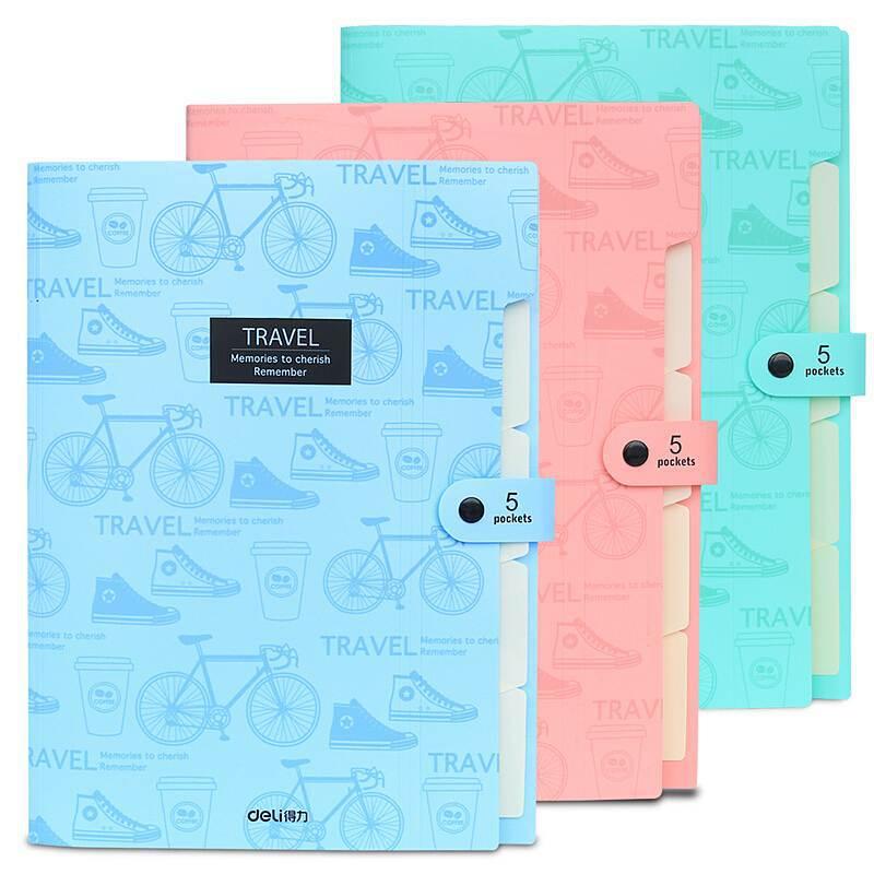 Boutique Five Grid Folder Business Folder File Bag Plastic Organ Bag File Storage Bag School Office Supplies