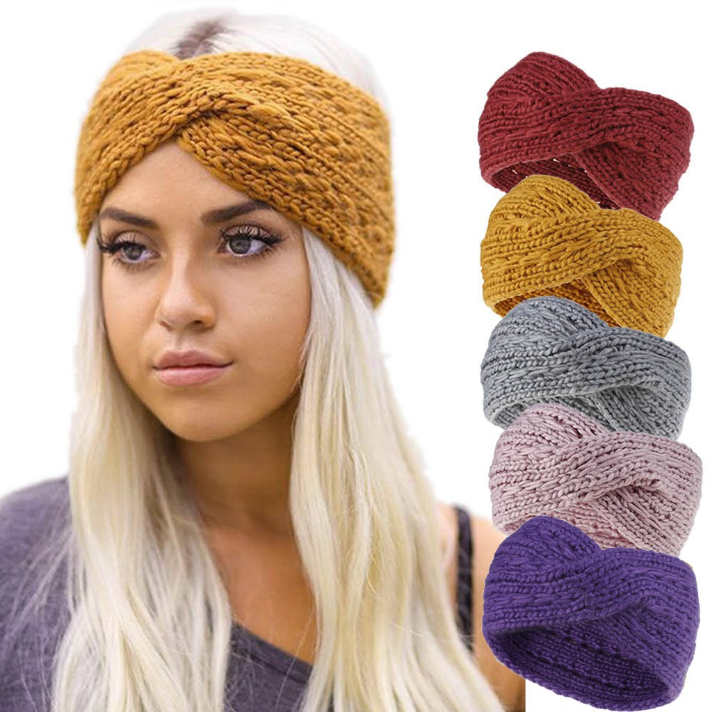 2019 Winter Warmer Ear Knitted Headband Turban For Lady Women Crochet Bow Wide Stretch Solid Hairband Headwrap Hair Accessories