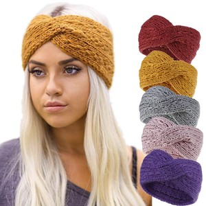 2019 Winter Warmer Ear Knitted Headband Turban For Lady Women Crochet Bow Wide Stretch Solid Hairband Headwrap Hair Accessories(China)