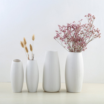 New European Simple White Ceramic Vase Nordic Home Flower Inserter Modern Simple Vases Creative House Living Room Decorations 1