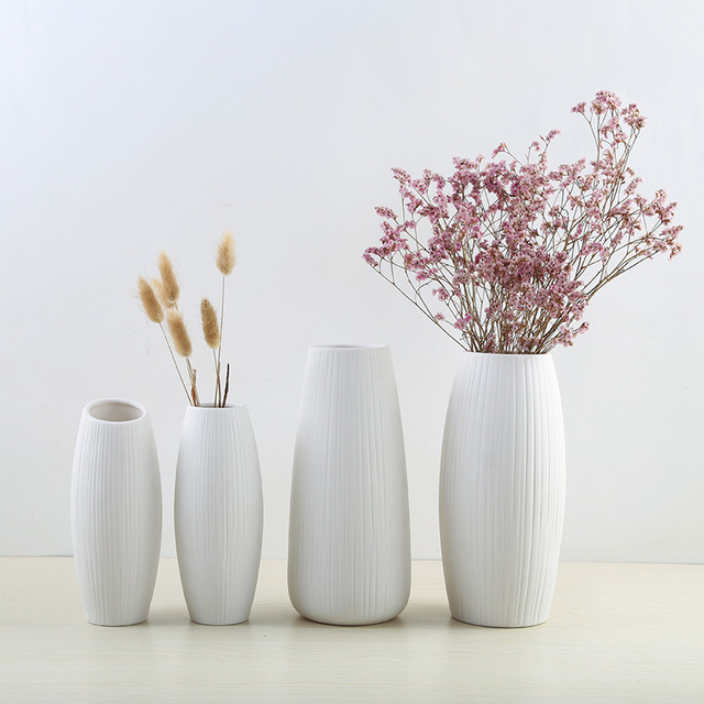 New European Simple White Ceramic Vase Nordic Home Flower Inserter Modern Simple Vases Creative House Living Room Decorations 1
