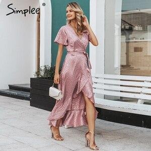 Image 3 - SimpleeLeopard プリントパーティードレスセクシーな V ネック半袖ドットプラスサイズドレス女性エレガントスプリットレースフリルベルトロングドレス