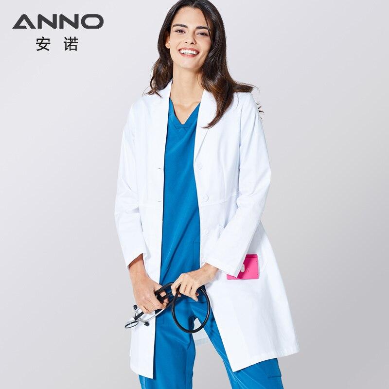 ANNO белый лабораторное пальто эластичная ткань доктор униформа для женщин наряд верхняя одежда медицинская одежда с длинным рукавом костюм