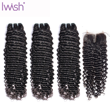 IWish 3/4 Brazilian Hair Water Weave Bundles With Closure 100% Remy Hair Extension Wet And Wavy Human Hair Bundles With Closure