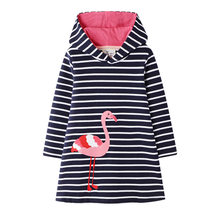 2019 New Girls Dress Hooded Dress European American Cartoon Printed Striped Girls Dresses Striped Flamingo Girl Dress With Hood(China)