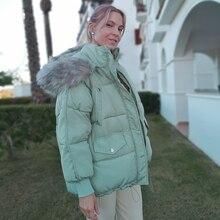 Orwindny 女性の冬ジャケットフード付き厚く暖かい冬コートショートダウンパーカー女性の毛皮のコートの綿パッド入りジャケット