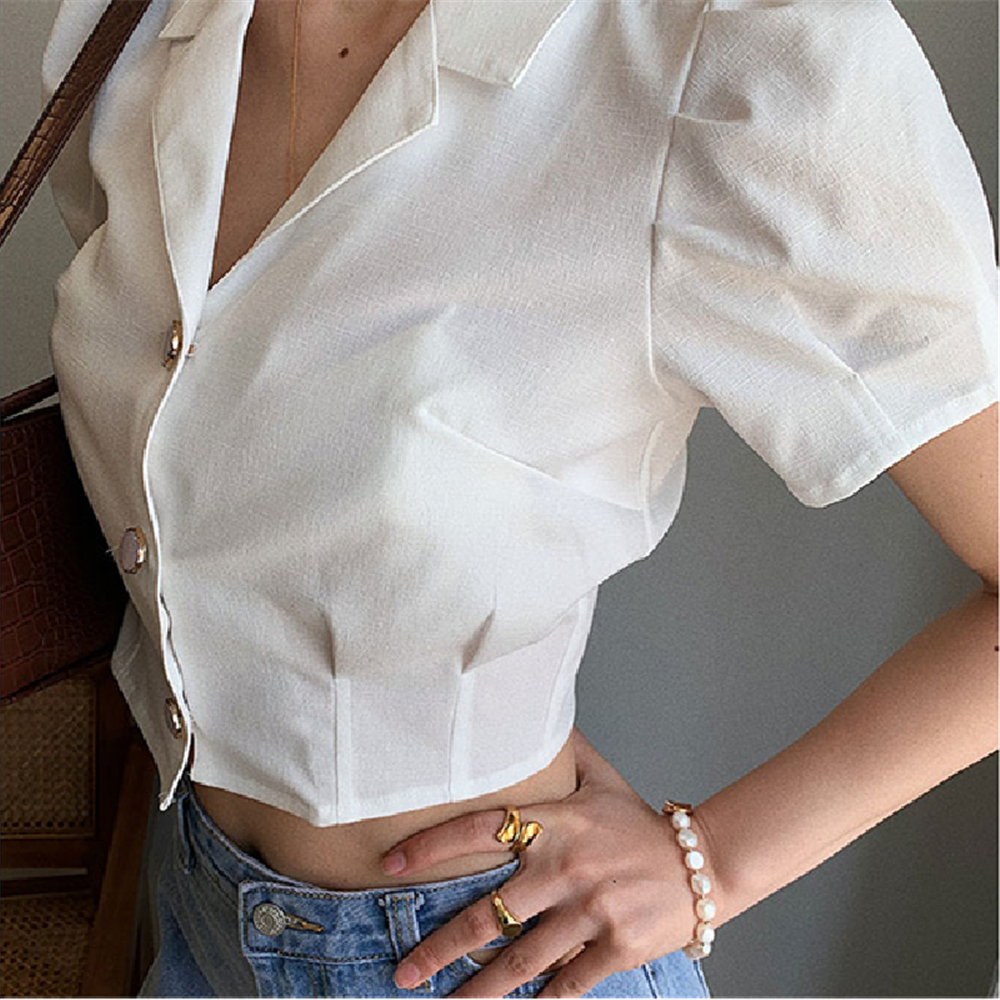 2020 White drop-feel suit jacket women crop top Vintage minimalist elegant short puff sleeve slim shirt coats female