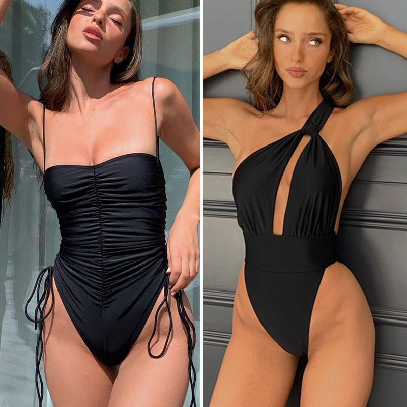 Женский слитный купальник на одно плечо, однотонный черный купальник-монокини с вырезами, лето 2021