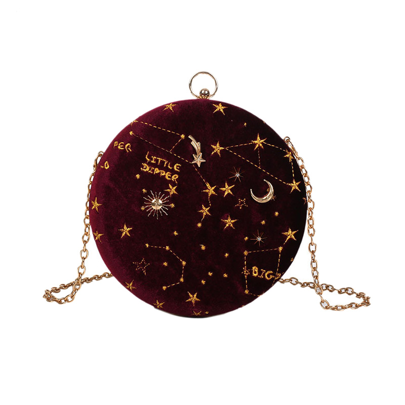 Starry Sky Circular Fashion Suede Shoulder Bag Chain Belt Women'S Crossbody Messenger Bags Ladies Purse Female Round Handbag Win