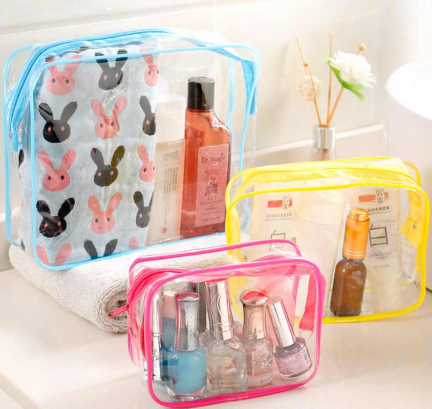 Baru Perjalanan PVC Kosmetik Tas Wanita Transparan Bening Zipper Makeup Tas Organizer Sabun Membuat Tote Tas Case