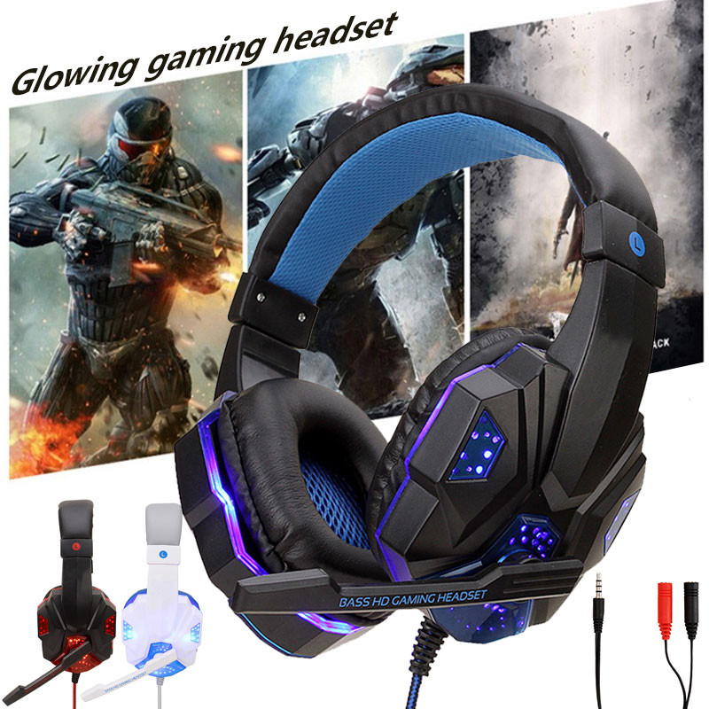 NEW Gaming Headsets Big <font><b>Headphones</b></font> with Light Mic Stereo Earphones Deep Bass for PC Computer Gamer Laptop PS4 Games