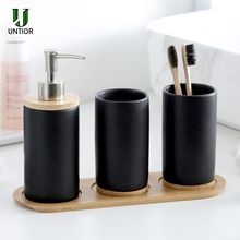 UNTIOR 3PCS Ceramic Bathroom Accessories Set Fashion Soap Dispenser Toothbrush Holder Tumbler Ceramic Household Bathroom Product