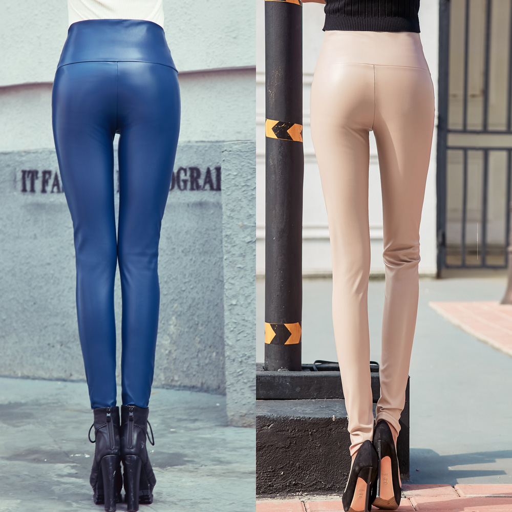 Autumn Winter Women Thin Velvet PU Leather Pants Female Sexy Elastic Stretch Faux Leather Skinny Pencil Pant Women Tight Trouser 11